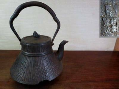 Japanese Antique KANJI old Iron Tea Kettle Tetsubin teapot Chagama 2344