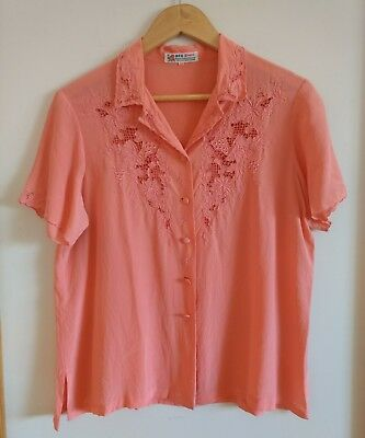 Vintage Pure Silk Embroidered Cut Lace Blouse Size Medium Coral Pink