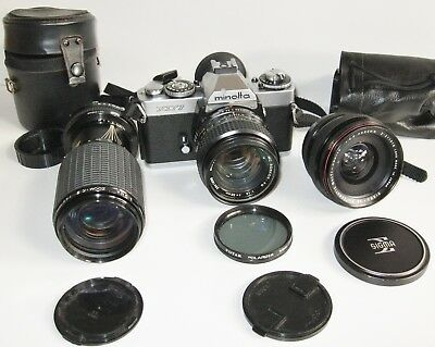 Minolta XD7 35 mm film SLR camera with Rokkor lens and others