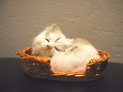 Sleeping Med BW Cat in basket handcrafted furry animals made with rabbit fur