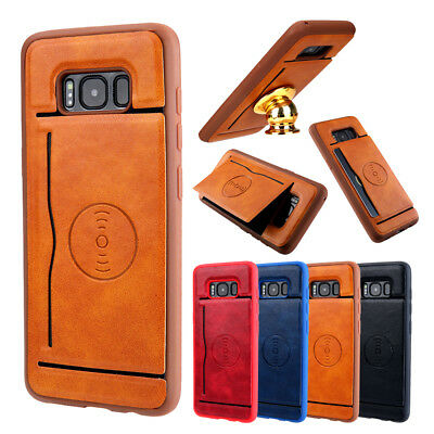 Magnetic Slim Leather Back Card Pocket Case Cover For Samsung S8 Plus S8 S7 Edge