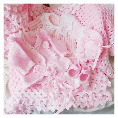 LAYETTE IDEAL PREMATURE  BABY OR DOLL KNITTING PATTERN DK Yarn Tiny Baby to 12m