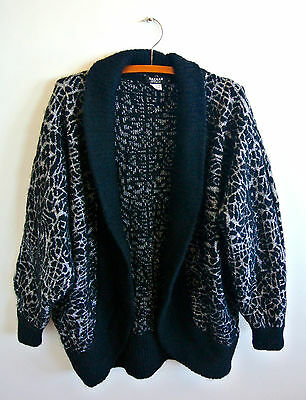 Vintage oversized black and silver cardigan Large