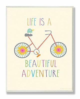 The Kids Room by Stupell Life Is A Beautiful Adventure Bird On A Bike Rectang...