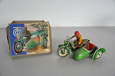 Tippco TCO 59 vintage Blech Motorrad mit Seitenwagen Made in US-Zone Germany OVP
