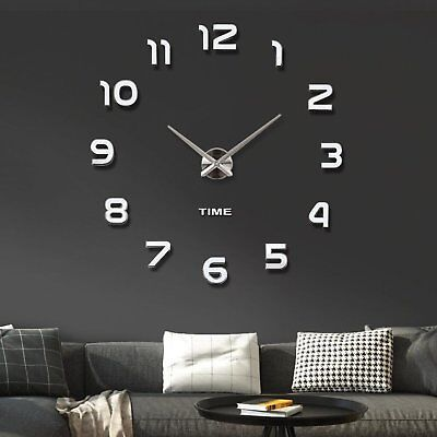 Modern Mute DIY Frameless Large Wall Clock 3D Mirror Sticker Metal