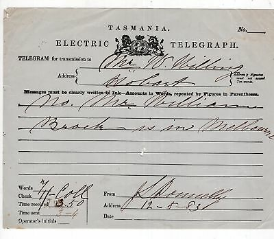 Tasmania Electric Telegraph form from 1883 see scans x 2