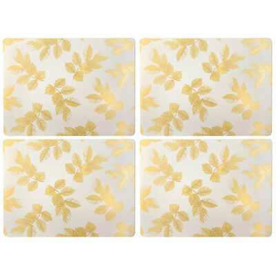 NEW Portmeirion Sara Miller Leaves Grey Placemats Set 4pce