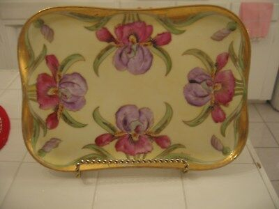 Beautiful Vintage Hand Painted HP Limoges France Dresser Vanity Tray With Irises
