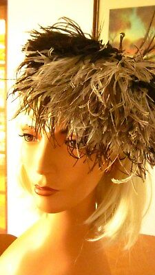 1930,s vintage hat/headpce in brown velvet with feather trim.Preloved