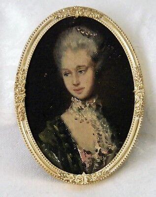 Framed Miniature Oil Painting of Elizabeth Wrottesley after Thomas Gainsborough
