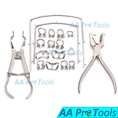 New Rubber Dam Starter Kit Of 18 Pcs with Frame Punch clamps Dental DN-592