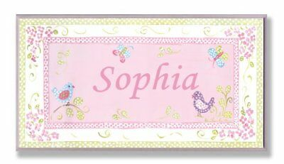 The Kids Room by Stupell Sophia Pink and Green Chickadees Personalized Rectan...