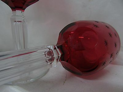 Pair Antique Etched Ruby Hock Wine Glasses Faceted Bubble Stem