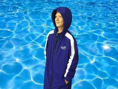 Swim Parka Wazsup Royal Blue Medium (Pool deck coat, swim jacket, beach robe)