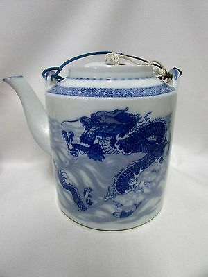 Large Chinese Teapot Blue & White Dragon Mark To Base