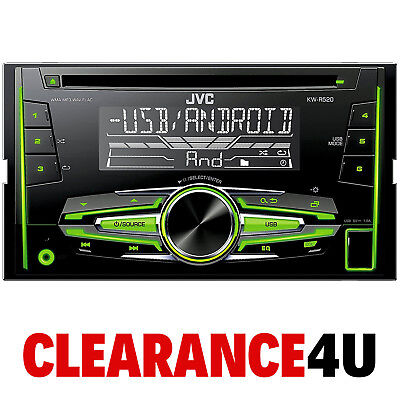 JVC KW-R520 Double Din CD AUX In MP3 USB Android iPhone Car Stereo Radio Player