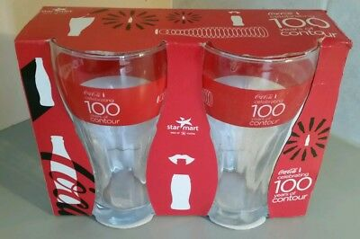2 Pac of Coca Cola Coke Glasses - Celebrating 100 Years Of Contour Glass - 2015