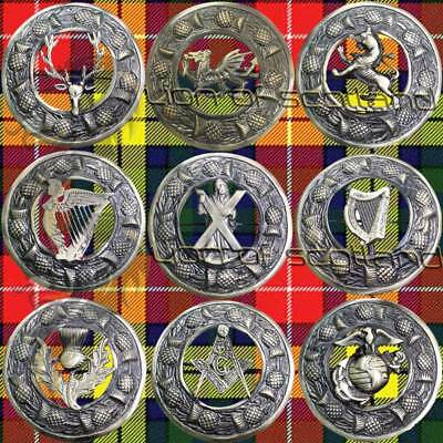 Scottish Kilt Fly Plaid Brooch Various Antique/Highland Pin Brooches Celtic 3""