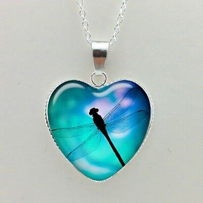 NEW Bohemian style glass dome photo silver plated pendant necklace DRAGONFLY 2
