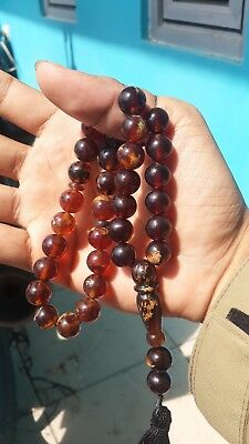 37 gr 35 round beads 12 mm Tasbih Misbaha Indonesian red  Amber