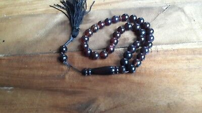 23 gr 35 round beads 10 mm Tasbih Misbaha Indonesian black red  Amber