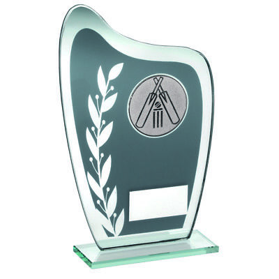 Cricket Glass trophy Award in 3 Sizes with FREE Engraving up to 30 Letters
