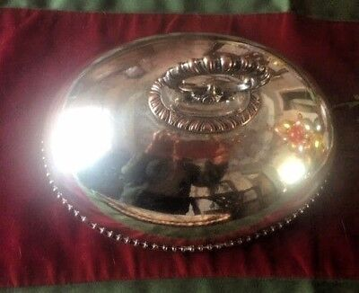Sheffield like silver on copper small Meat Platter Cover with handle, antique