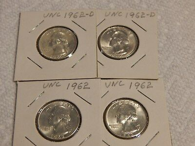 1962 Washington Quarters, P and D,  2 each, UNC