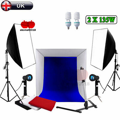 Photography Photo Studio Cube Tent 4 Backdrops Softbox Lighting Light Stand UK