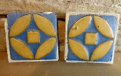 (2) VERY RARE * Grueby Pottery Tile * (2 COLORS) ** GEOMETRICS ** (SAVE U FRAME)