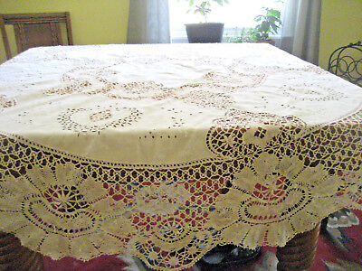 Antique Handmade Lace Round Tablecloth Cluny Bobbin Embroidery