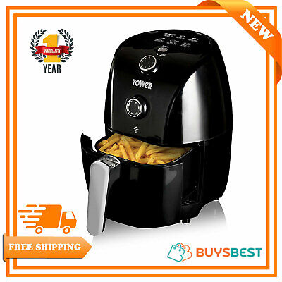 Tower Compact Air Fryer with 30 Minute Timer, 1000 W, 1.5 Litre, Black - T17025