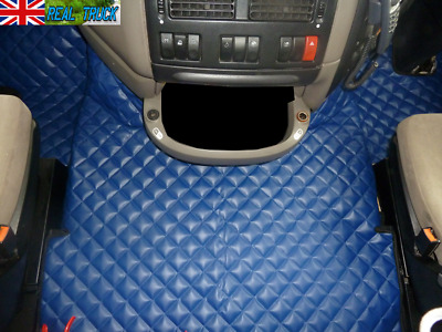 Truck Eco Leather Floor Mats Set  Fit Daf Xf 105  2012 - 2013   Automatic - Blue