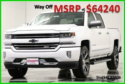2018 Chevrolet Silverado 1500 MSRP$64240 4X4 LTZ Z71 Sunroof GPS White Crew 4WD New Navigation Heated Cooled Leather 6.2L V8 Camera 22 In Rims 17 2017 18 Cab