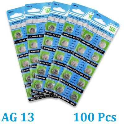 100x AG13 357A CX44 LR44W Alkaline batteries button cell watch camera Electronic