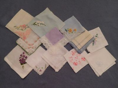 Lot of 12 Vintage Handkerchiefs Hankies Embroidered Lace Trimmed