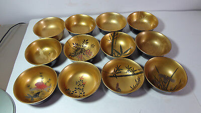 Lacquer ware mixed lot of bowls set of 12