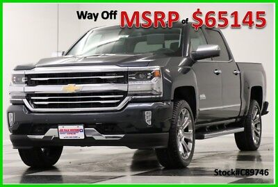 2018 Chevrolet Silverado 1500 MSRP$65145 4X4 High Country Sunroof Graphite Crew 4WD New Navigation Heated Cooled Black Leather 17 2017 18 Cab 6.2L V8 Camera Gray