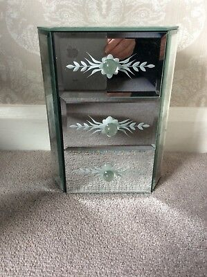 Beautiful Mirrored Jewellery Box With Three Drawers