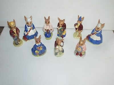 Vintage LARGE LOT Bunnykins Figurines Royal Doulton 1970s 9 Figurines Lot WOW!