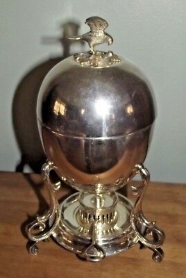 VERY Nice Complete ~ Silver Plated ~ Egg Coddler with Hawk and Nest Finial