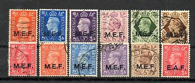 GB Overprints MEF used (12). Unchecked.