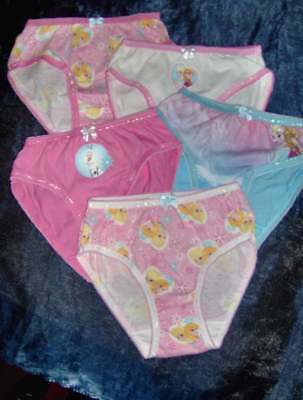 5 Pair Pack Girls Frozen Briefs Assorted  - Ages 2/3 - 10/11 Years