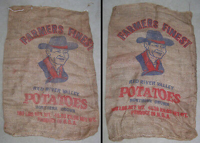 LOT of 2 VINTAGE FARMERS FINEST RED RIVER VALLEY POTATO BURLAP BAG/GUNNY SACK