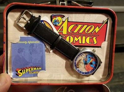 Brand New in tin Superman FOSSIL watch 2002 Limited Edition LI2061 RARE
