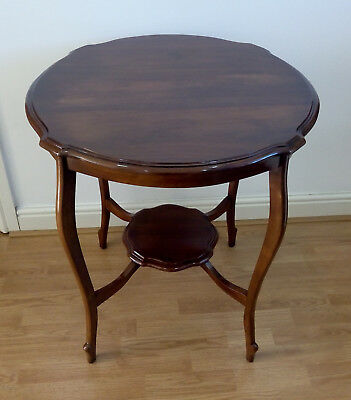 Antique Edwardian Mahogany Two Tier Occasional Round Table