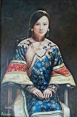 Portrait of a Girl Lady Woman Japanese Chinese Signed Fine Large Oil Painting