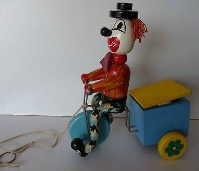 Vintage 'Vilac France' Wooden Clown on Bicycle Pull Along Toy