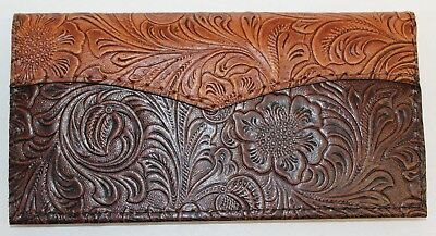 Tan & Chocolate Western Leather Checkbook Cover Free Shipping